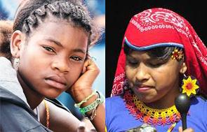 Izquierda: joven mujer afrodescendiente; derecha: mujer wixárika.