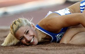 Voula Papachristou, competidora del equipo de Grecia en Juegos Olímpicos en el salto triple.