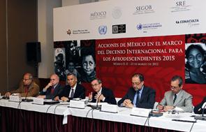 Funcionarios que expusieron las acciones en pro de la población afromexicana.