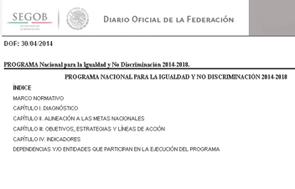 Portada del Pronaid en el Diario Oficial de la Federación en línea.