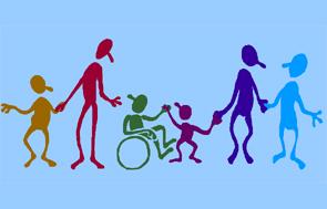 Dibujo de padres e hijos, uno de ellos con discapacidad, que conviven en atrmonía.