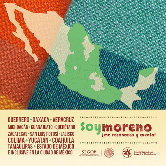 Mapa de México con los estados marcados donde hay población afrodescendiente relevante.