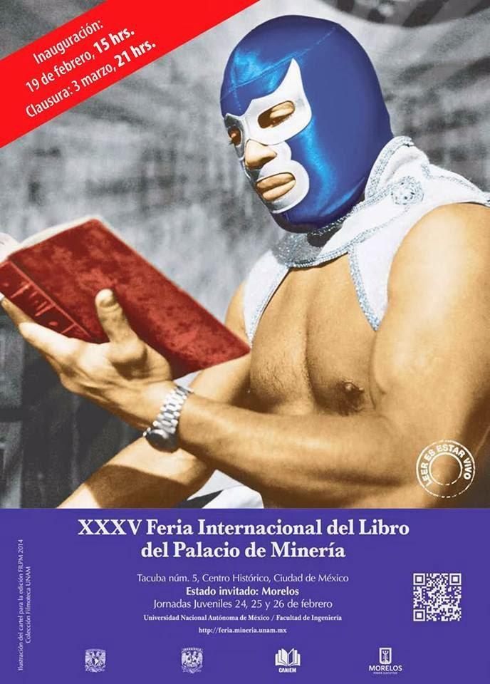 Poster de invitación de la Feria Internacional del Libro del Palacio de Mineria