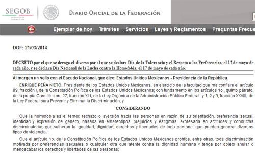 El Decreto: imagen en el sitio del Diario Oficial de la Federación.