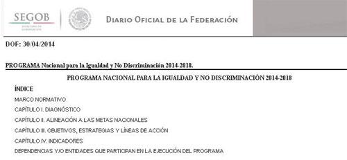 Portada del Programa, en el Diario Oficial de la Federación.