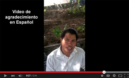 Video de agradecimiento de Floriberto Nuñez en español.