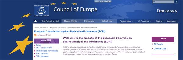 Logo del Consejo de Europa y fragmento de portada del sitio externo de ECRI.