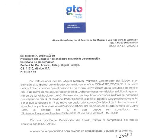 Oficio del gobierno del estado de Guanajuato.