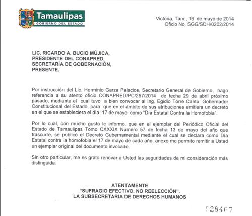 Oficio del gobierno del estado de Tamaulipas.