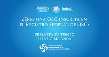 Imagen con texto referente al informe anual de ocs para reportar a INDESOL