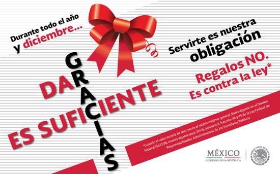 """Cartel de la Campa�a """"dar las gracias es suficiente"""" de la Secretar�a de la Funci�n P�blica."""