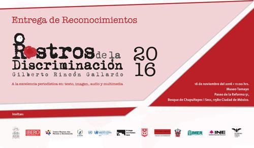 Imagen alusiva a la invitación de los premios Rostros de la Discriminación 2016