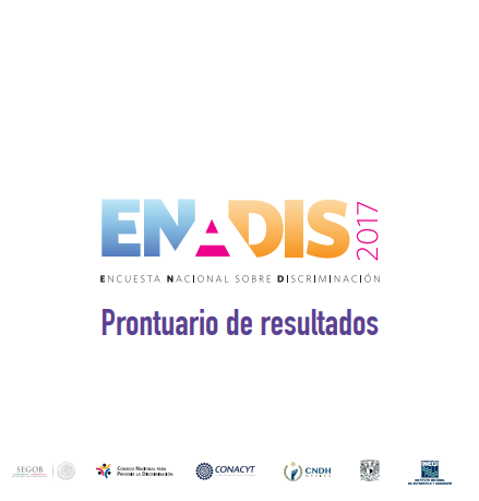 Portada del Prontuario de la ENADIS 2017